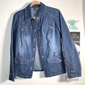 French Cuff  pockets Jean jacket full button up